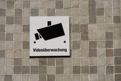 Surveillance sign deutsch videoueberwachung Royalty Free Stock Photography