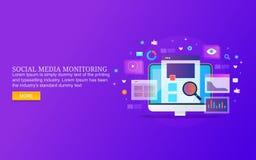 Surveillance sociale de médias, données sociales d'engagement de médias montrant sur l'écran d'ordinateur image libre de droits