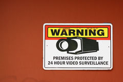 Surveillance warning sign Stock Photo