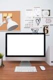 Surveillez l'espace de travail de PC d'ordinateur Image libre de droits