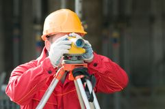 Surveor at work with level Stock Images