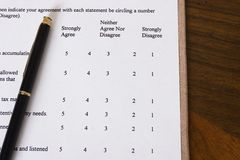 Survey. Business survey with pen stock photography