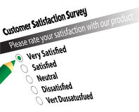 Survey. Customer satisfaction survey ticked the very satisfied option Stock Photo
