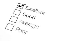 Survey. A checklist with differential focus on excellent and the tick stock photo