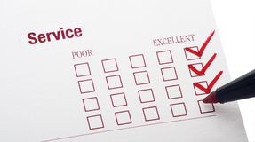 Survey. For service rendered with excellent checkbox marked Stock Photo