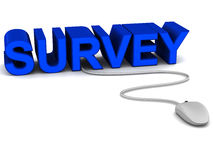 Survey. Mouse connected to survey text, concept of online survey and opinion polls, and customer feedback