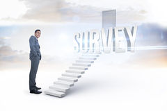Survey against white steps leading to closed door Royalty Free Stock Photo