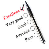 A survey check box questionnaire. For customer satisfaction with check boxes focusing on Excellent Stock Images