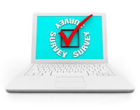Survey Checkbox and Mark on a White Laptop. A white laptop displays the word Survey and a check box and mark Royalty Free Stock Photography