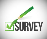 Survey checkmark and pencil illustration Royalty Free Stock Image