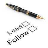 Survey Concept. Lead or Follow Checklist with Golden Fountain Wr. Iting Pen on a white background. 3d Rendering Stock Photo