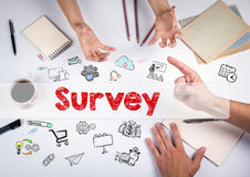 Survey concept. The meeting at the white office table Royalty Free Stock Photos