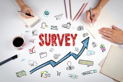 Survey Concept. The meeting at the white office table Royalty Free Stock Image