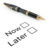 Survey Concept. Now or Later Checklist with Golden Fountain Writ Stock Images