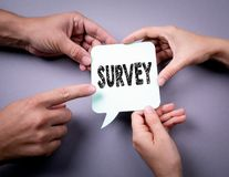 Survey concept. Speech bubble on a gray background.  stock images