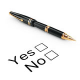Survey Concept. Yes or No Checklist with Golden Fountain Writing Stock Photo