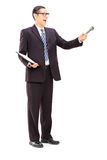 Survey conductor holding clipboard and microphone Royalty Free Stock Images
