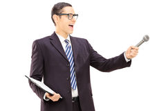 Survey conductor holding clipboard and microphone Stock Images
