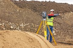 Cadastral survey of locality by surveyor stock photo