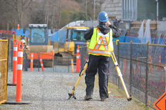 Survey Crew Chief on Construction Site Royalty Free Stock Images