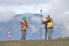 Survey Crew and Road Construction royalty free stock photos