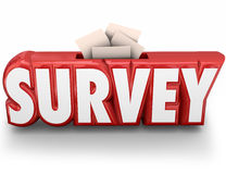 Survey 3d Word Answer Submission Response Feedback. Survey word in red 3d letters and answers, responses or feedback submitted Royalty Free Stock Image