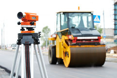 Survey equipment at asphalting Royalty Free Stock Images