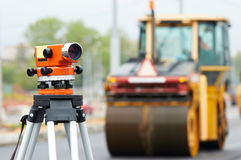 Survey equipment at asphalting Stock Image