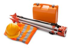 Survey equipment in carrying case Stock Images