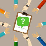 Survey feedback get suggestion opinion or review. question mark with people hands around it Royalty Free Stock Photo