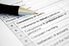Survey form Stock Photography