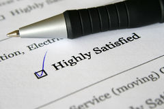 Survey form- highly satisfied. Stock Photography