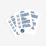 Survey form, paper sheets. Exam form, checklist for assessment, questionnaire or quiz form Royalty Free Stock Image