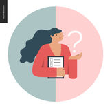Survey icon in a circle. Flat vector cartoon illustration of a woman holding the question sign and a clipboard with the checklist on it Royalty Free Stock Photo