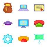 Survey icons set, cartoon style. Survey icons set. Cartoon set of 9 survey vector icons for web  on white background Stock Photography