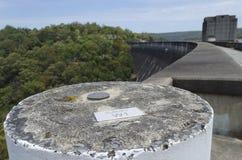 Survey Marker on Dam Stock Photography