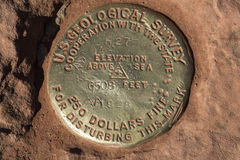 Survey Marker in Zion National Park Royalty Free Stock Images