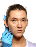 Survey before plastic surgery. Stock Image