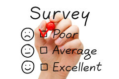 Survey Poor Evaluation. Hand putting check mark with red marker on poor survey evaluation form royalty free stock photography