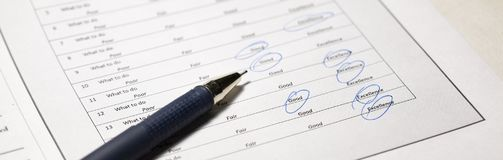 Feedback in customer survey, Checklist of Options from Excellent to Poor stock photography