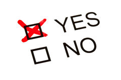 Survey or Questionnaire. 'YES' and 'NO' tick boxes on a survey or Questionnaire stock images