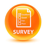 Survey (questionnaire icon) glassy orange round button Stock Photos