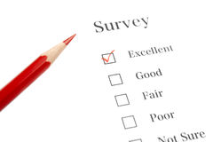 Survey Questionnaire with Red Pencil Stock Photography