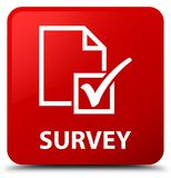 Survey red square button stock illustration