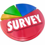 Survey Results Answers Pie Chart Market Research Intelligence. Survey word in red 3d letters on a pie chart to illustrate results, data and answers from market Stock Photos