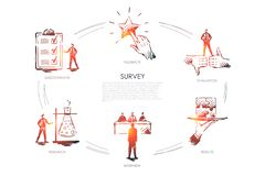Survey, results, interview, research, feedback concept vector. Survey, results, interview, research, feedback vector set vector illustration