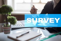 Survey text on virtual screen. Feedback and customers testimonials. Business internet and technology concept. Survey text on virtual screen. Feedback and royalty free stock photos