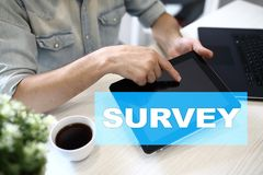 Survey text on virtual screen. Feedback and customers testimonials. Business internet and technology concept. Survey text on virtual screen. Feedback and stock photo