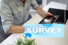Survey text on virtual screen. Feedback and customers testimonials. Business internet and technology concept. Survey text on virtual screen. Feedback and stock photography