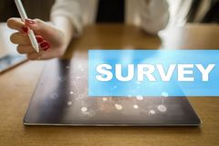 Survey text on virtual screen. Feedback and customers testimonials. Business internet and technology concept. Survey text on virtual screen. Feedback and royalty free stock images